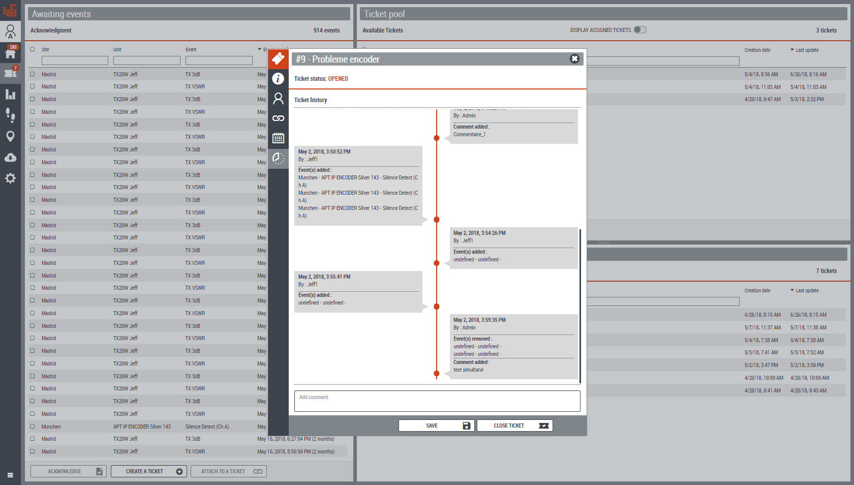 Worldcast Manager - Manage tickets & user assignments. Track operational responses.